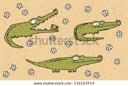 Hand drawn grunge illustration set of three cute crocodiles on floral background. (for vector see image 113519818) - stock photo