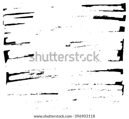 Hand drawn grungy stains black marker background frame element - stock photo