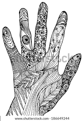 Hand drawn hand isolat...