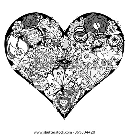 Hand drawn Heart of flower doodle background. Black and white. Art illustration