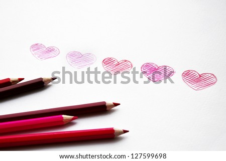 Hand drawn hearts with pencils - stock photo