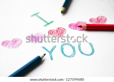 Hand drawn hearts with pencils. I love you - stock photo