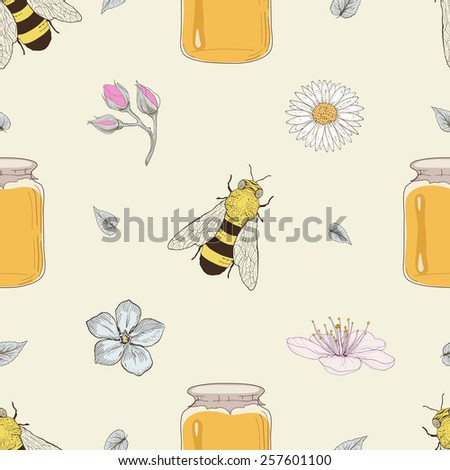 Hand drawn honey jars, bees and flowers seamless pattern. Vintage engraving style - stock photo