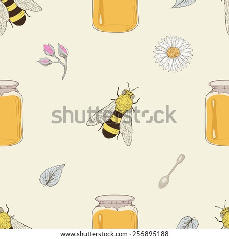 Hand drawn honey jars, spoons, bees and flowers seamless pattern. Vintage engraving style