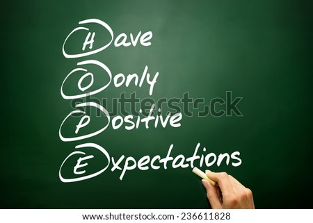 Hand drawn HOPE acronym, business concept on blackboard - stock photo