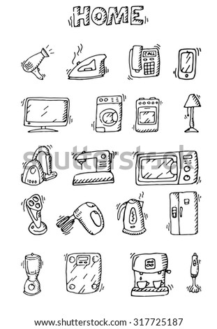 Hand drawn icons home appliance on white background.