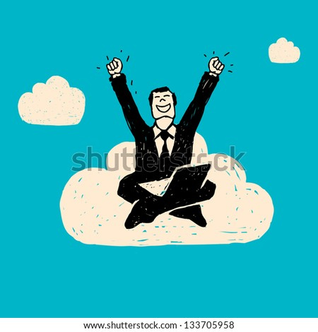 Hand drawn illustration. Businessman with computer on the cloud.