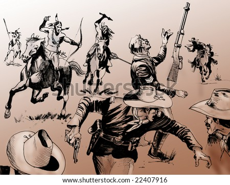 Hand drawn illustration - Far West battle scene among a group of native American warriors and U.S. Army soldiers - Monochrome on brown background - stock photo