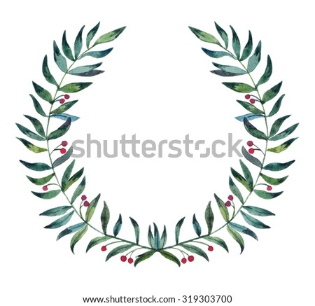 Hand drawn illustration - festive watercolor wreath. Design element for invitations, greeting cards, quotes, blogs, posters and more. Perfect For Wedding Frames. - stock photo