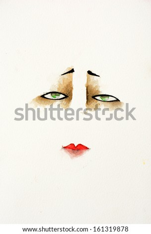 hand drawn illustration of a face wearing a dramatic, vintage makeup look, with dark shadow around the eyes and red lipstick - stock photo