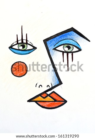 hand drawn illustration of a face wearing dramatic makeup look, inspired by the cubist paintings - stock photo