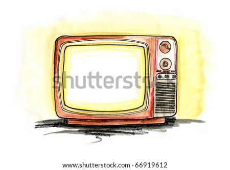 Hand drawn illustration of a vintage TV on white background