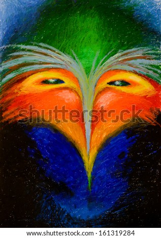 hand drawn illustration of an imaginary, fantastic bird, with colorful feathers - stock photo