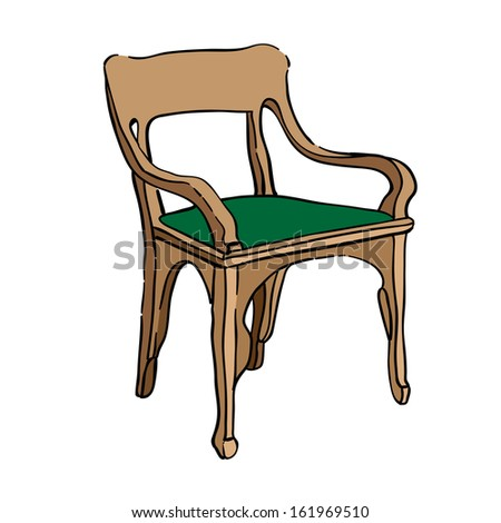 Hand drawn illustration of an 1900 style chair, colored doodle isolated on white
