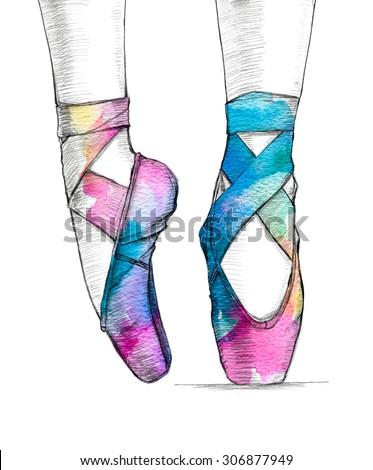 Handdrawn Illustration Ballerinas Feet Dancing Ballet ...
