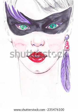 Hand-drawn Illustration of beautiful woman. Portrait of beautiful girl. Watercolor portrait of charming girl. Young beautiful woman  in black mysterious mask - stock photo