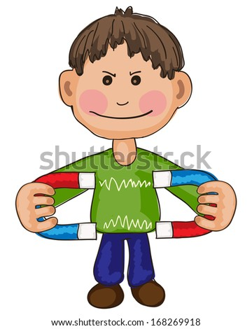 Hand drawn illustration of boy experimenting with two magnets - stock photo