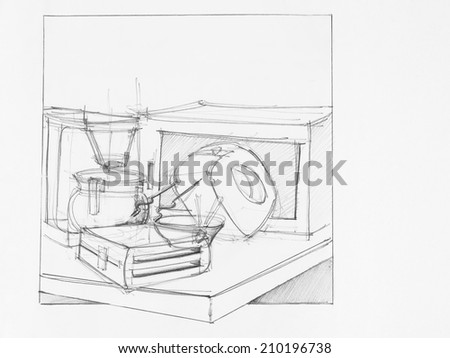 hand drawn illustration of composition with objects, artistic study - stock photo