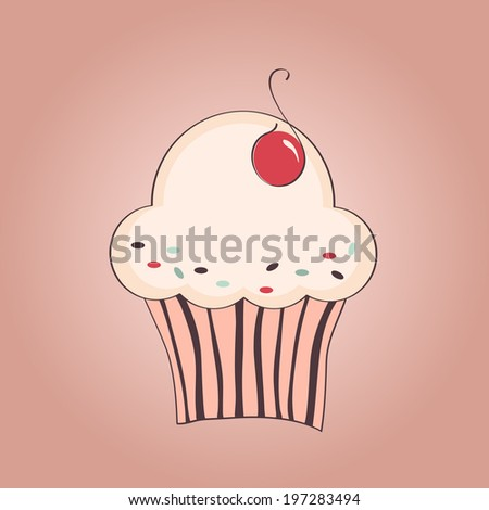 hand drawn illustration of cupcake with cherry - stock photo