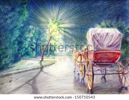 Hand Drawn Illustration of Horses and Carriage on the Street