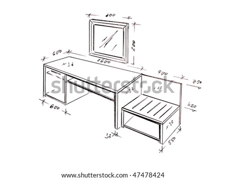 Hand drawn illustration of hotel furniture isolated on white.