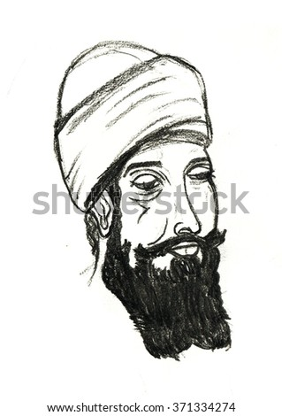 Hand drawn illustration of old man, black and white drawing. drawing cartoon, Grey Hair. hat. Muslim, Sikh