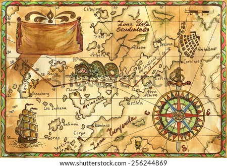 Hand drawn illustration old pirate map stock illustration 256244869 hand drawn illustration of old pirate map with continents and islands sailing ship rose gumiabroncs Choice Image