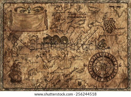 Hand drawn illustration of old pirate map with desaturated effect on grunge paper background - stock photo