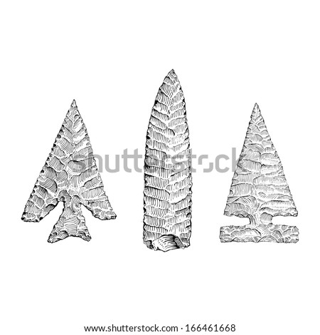Hand Drawn illustration of stone age tools