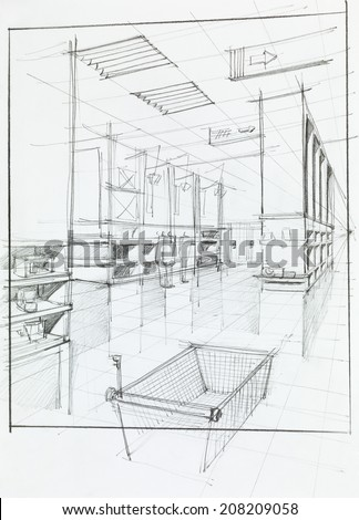 hand drawn illustration of supermarket interior and empty shopping cart - stock photo