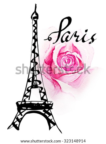 Hand Drawn Illustration With Eiffel Tower Paris
