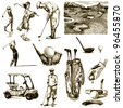 "hand-drawn images - collection - "" ON THE GOLF "" - drawing a hard-tip marker - vintage variation in brown-black - stock photo"