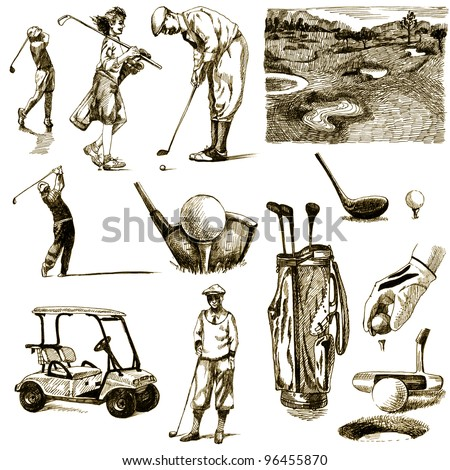 """hand-drawn images - collection - """" ON THE GOLF """" - drawing a hard-tip marker - vintage variation in brown-black - stock photo"""