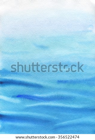 Hand-drawn in watercolor sea. Ocean water in calm weather. Light waves, the sea breeze. Seascape. Water and peace summer mood.  Great background texture for design.  - stock photo
