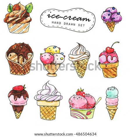 Hand-drawn ink and watercolor ice-cream doodle collection. Line art set of the sweet dessert illustrations.
