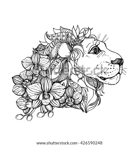 Hand Drawn Ink Doodle Lion And Orchid On White Background Coloring Page