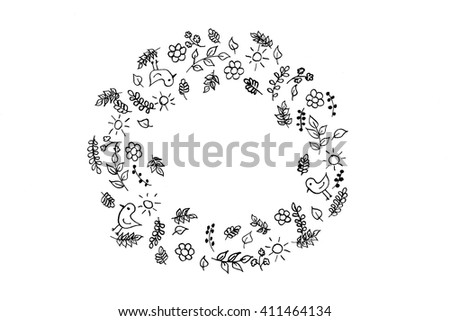 Hand drawn ink pattern. Hand drawn floral wreath. Black ink on white background.