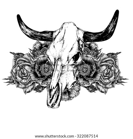 hand drawn ink pen decoration element cow bull skull and flowers poppies - Lamborghini Bull Tattoo
