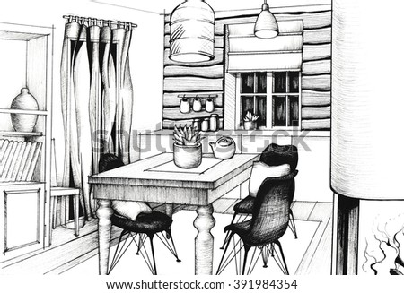 Hand Drawn Interior Of A Summer House In Pen And Ink Highly Detailed