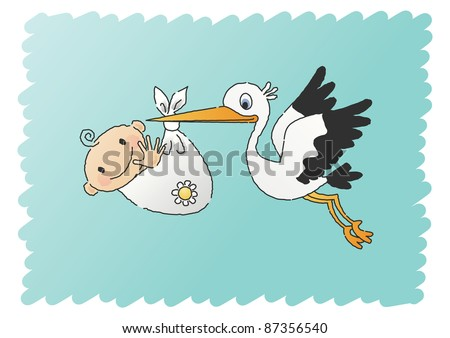 Hand-drawn JPEG illustration of a stork delivering a baby boy.  Also available as vector file.