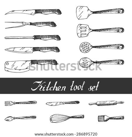 Hand drawn Kitchen Utensils Set. Sketch. - stock photo