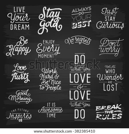 Hand drawn lettering slogans. - stock photo