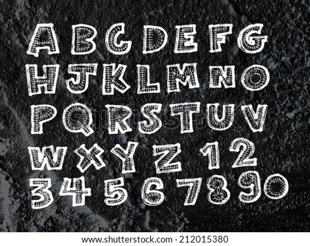 Hand drawn letters font written on wall texture background design