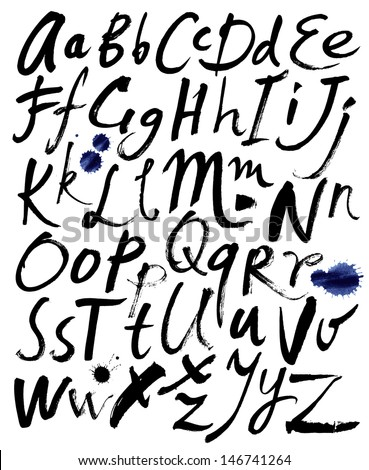 Hand drawn letters. Letters of the alphabet written with a brush. - stock photo
