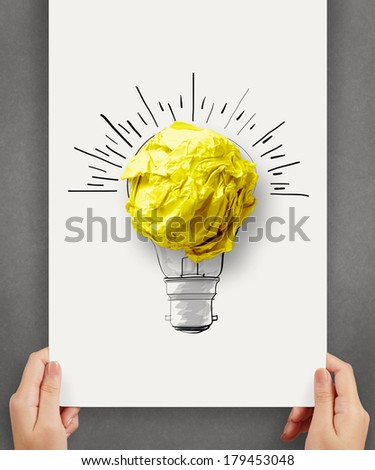 hand drawn light bulb with crumpled paper ball on paper poster as creative concept - stock photo