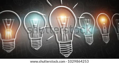 Hand drawn lightbulb sketch with depth of field focus