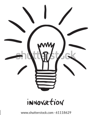 "hand-drawn lightbulb with ""innovation"""