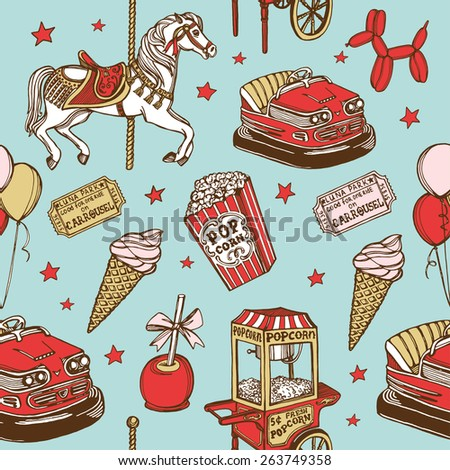 Hand drawn luna park vintage seamless pattern. Carousel horse, pop corn, balloon dog, candy apple, ice cream, amusement park tickets, air balloons, bumper car, popcorn machine. Blue background - stock photo