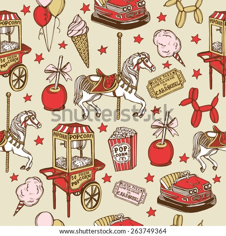 Hand drawn luna park vintage seamless pattern. Carousel horse, pop corn, balloon dog, candy apple, ice cream, amusement park tickets, air balloons, bumper car, popcorn machine, stars - stock photo