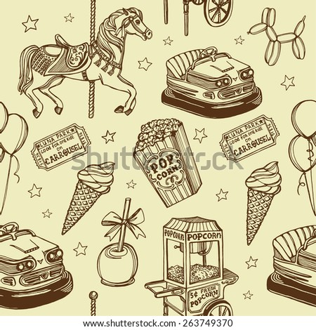Hand drawn luna park vintage seamless pattern. Carousel horse, pop corn, balloon dog, candy apple, ice cream, carousel tickets, air balloons, bumper car, popcorn machine. - stock photo